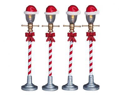 Strassenlampe Weihnachtsmannhut
