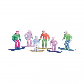 6 Figuren mit Snowboard