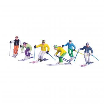 6 Figuren mit Ski und Stöcken